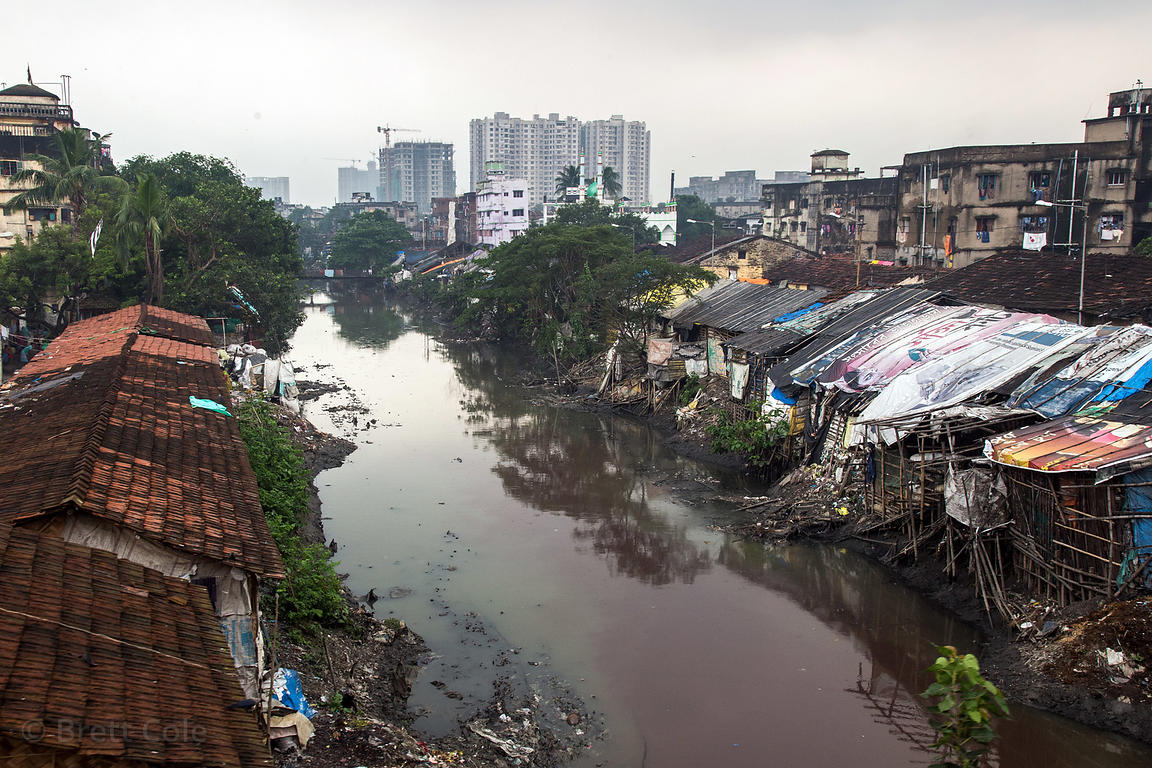Slum area along a creek with polluted water, Tangra, Kolkata, India