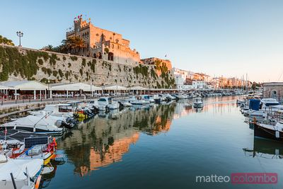 Harbor and town hall at sunset, Ciutadella, Menorca