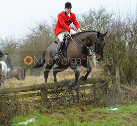 Simon Hunter jumping the hunt jump at Newbold - The Fitzwilliam Hunt visit the Cottesmore at Burrough House