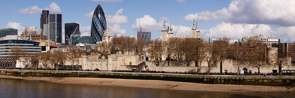 A view of the Financial Center of London the Tower of London and the River Thames London England