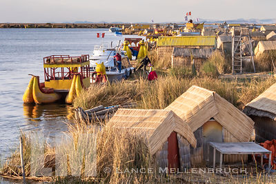 Uros Floating Islands on lake Titicaca in Peru