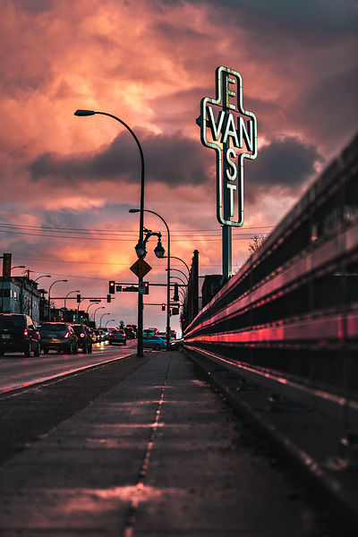 The East Van Sign in a Fiery Sky