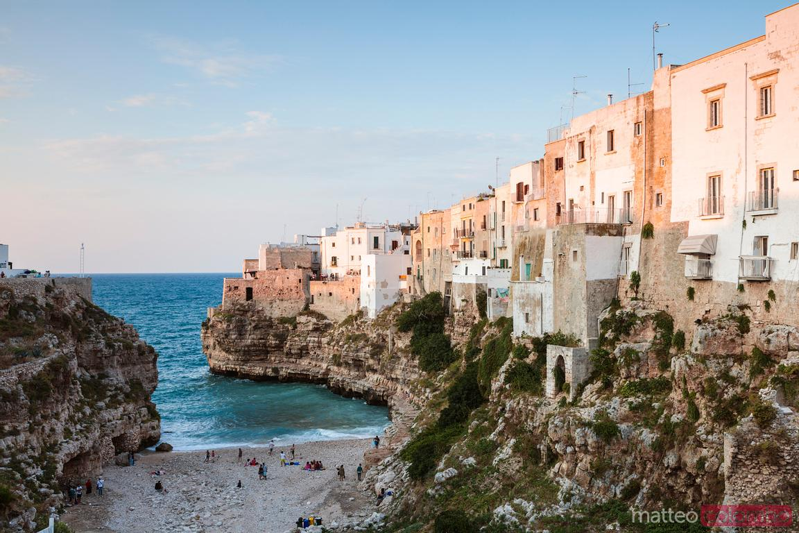 Small beach under the old town, Polignano a mare, Apulia, Italy