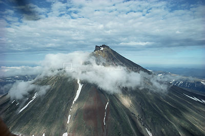 Aerial view of volcano, Kamchatka, Russia