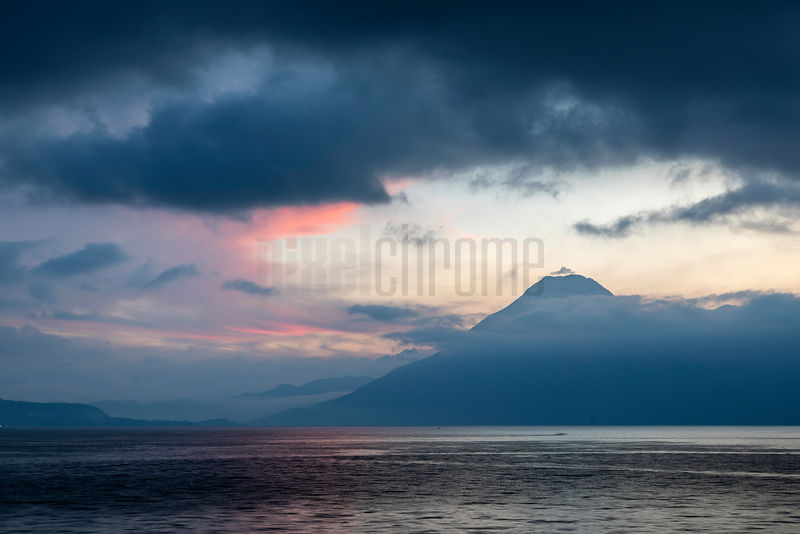 View of Volcán San Pedro across Lake Atitlán at Dusk