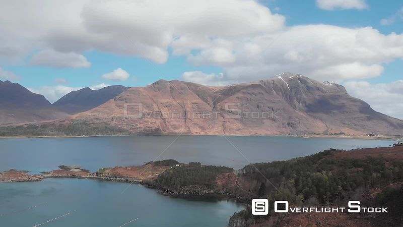Aerial drone shot of Upper Loch Torridon in Wester Ross in Northwest Highlands of Scotland