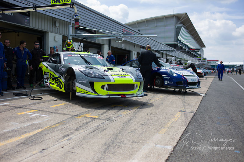 The Twisted Team Parker Ginetta G55 GT4 in the pit lane, pre-race, at the Silverstone 500 - the third round of the British GT...