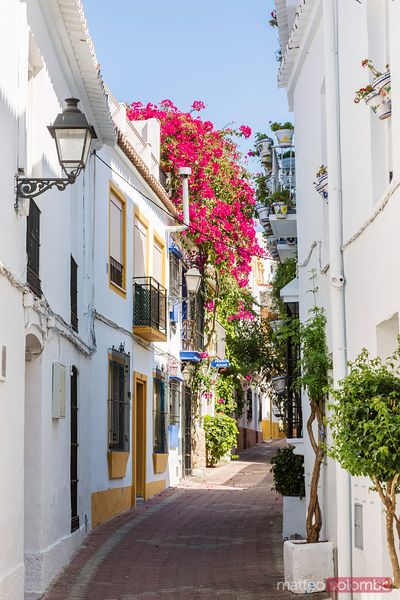Street in the old town with white houses, Marbella, Spain