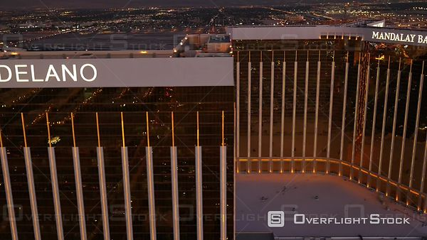 Las Vegas, Nevada, USA  Aerial Footage of Mandalay Bay at Dusk