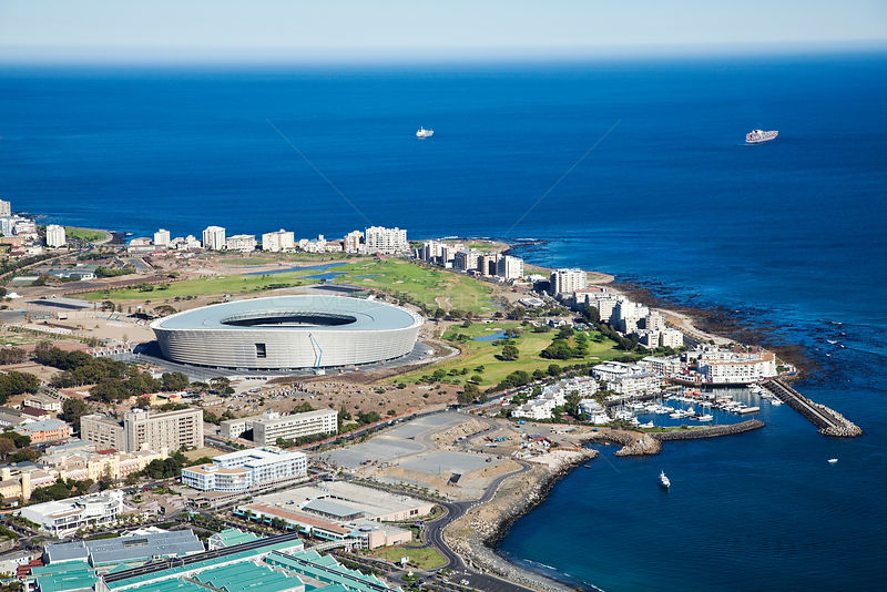 Aerial photograph showing Cape Town Stadium, Atlantic Ocean, South Africa, Western Cape Province, March 2010