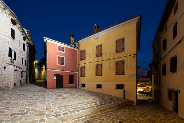 Houses at Dusk around Tomaso Bembo Square in the Istrian Town of Bale-Valle