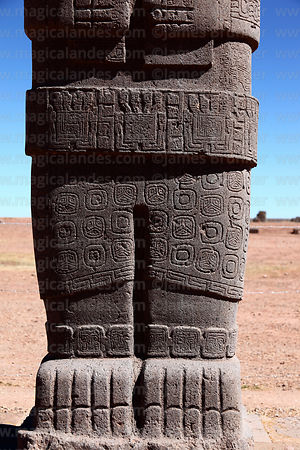 Front view of carvings on lower half of Ponce monolith, Tiwanaku, Bolivia