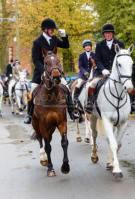 Dick Wise leaving the meet. The Cottesmore Hunt at Braunston