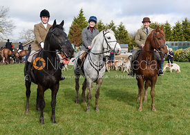 Camille Bennett, Stacey Rands and Bruce McKim at the meet - The Cottesmore Hunt at Ladywood Lodge 28/2