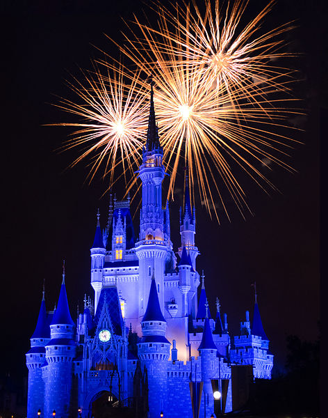 Cinderella Castle at Night with Fireworks | Color Print