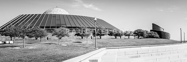 Chicago Adler Planetarium Black and White Panoramic Picture