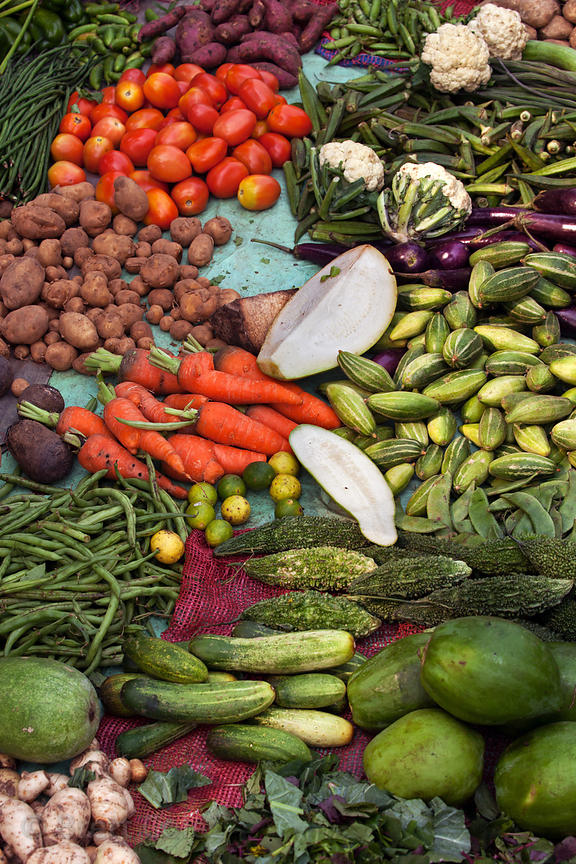 Gorgeous assortment of organic vegetables for sale at a market in Shyambazar, Kolkata, India.