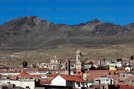 View of city centre and cathedral and church towers, Potosí, Bolivia