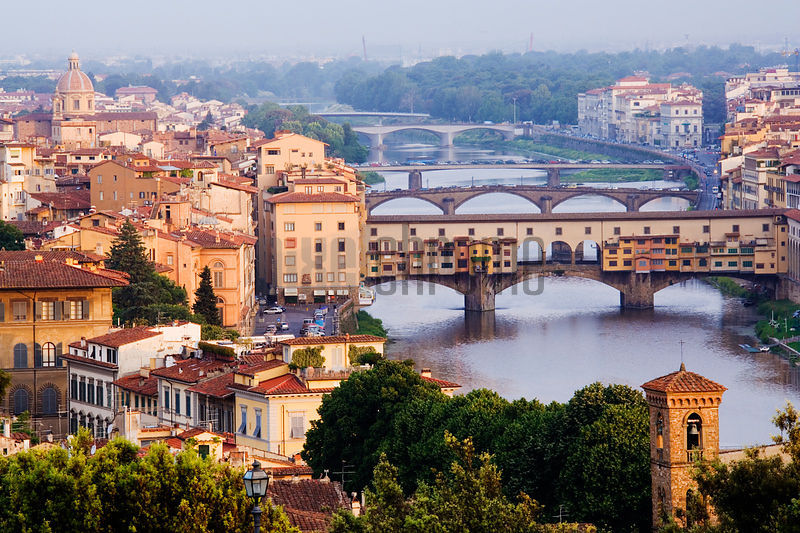 Skyline of Florence and River Arno from Piazza Michelangelo, Florence, Tuscany, Italy