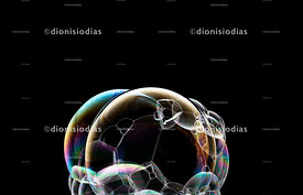 Set of soap bubbles on black background
