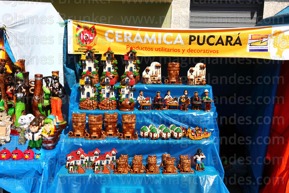 Ceramics from Pucará for sale in craft market for Alasitas festival, Puno, Peru