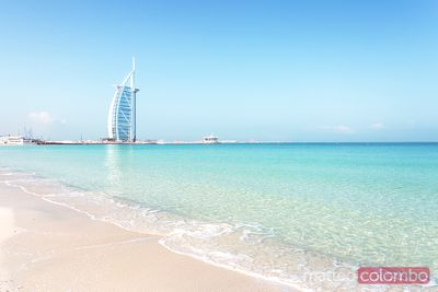 Beach and Burj Al Arab luxury hotel, Dubai, United Arab Emirates