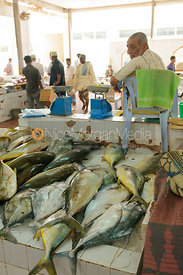 Freshly caught raw fish on a fish stall in the market in Salalah, Oman