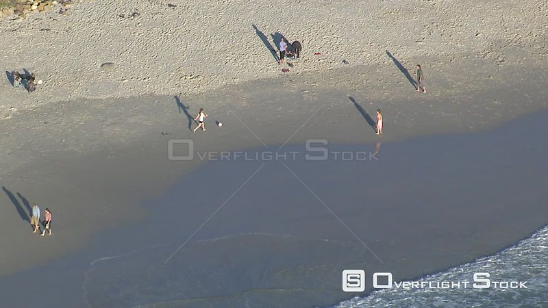 Aerial of families on Llandudno Beach Llandudno Beach Cape Town Western Cape South Africa