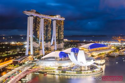Elevated view of Marina Bay Sands at dusk, Singapore