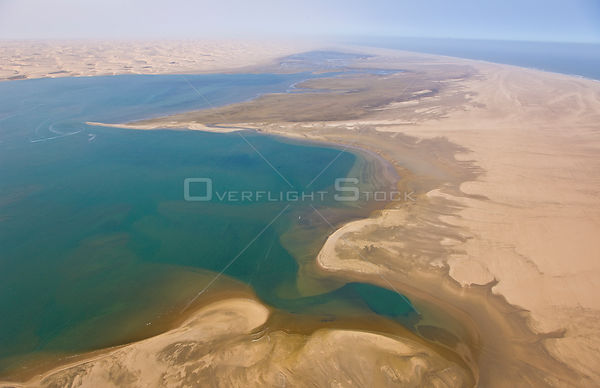 Aerial view of sand dunes and the atlantic coast, near Swakopmund, Namib desert, Namibia, August 2008