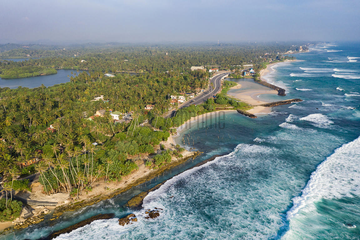 Aerial View of the South Coast around Weligama