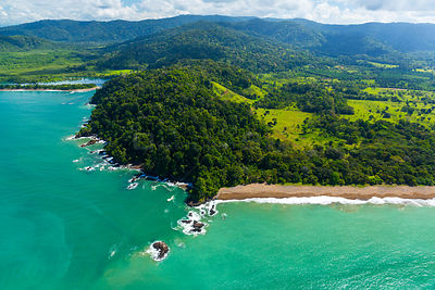 Aerial view of Corcovado National Park, Osa Peninsula, Puntarenas Province, Costa Rica. December 2014.