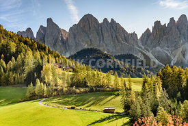 Beautiful dramatic countyside and mountains near Saint Magdalena in the South Tyrol, Italy.