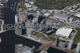 Manchester  aerial photograph of the BBC Media City  Metro Station Salford Quays