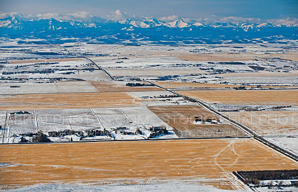 Aerial View of ranches and farm in the prairies