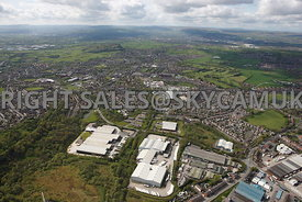 Oldham wide angle aerial photograph of Salmon Fields looking towards Royton