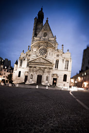 Front wall of Saint Etienne du Mont church by night, Paris