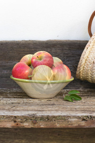 apples, red, green, fruit, autumn, rustic bench, white background, outdoors, in hand painted ceramic bowl,  juicy, fresh, hea...