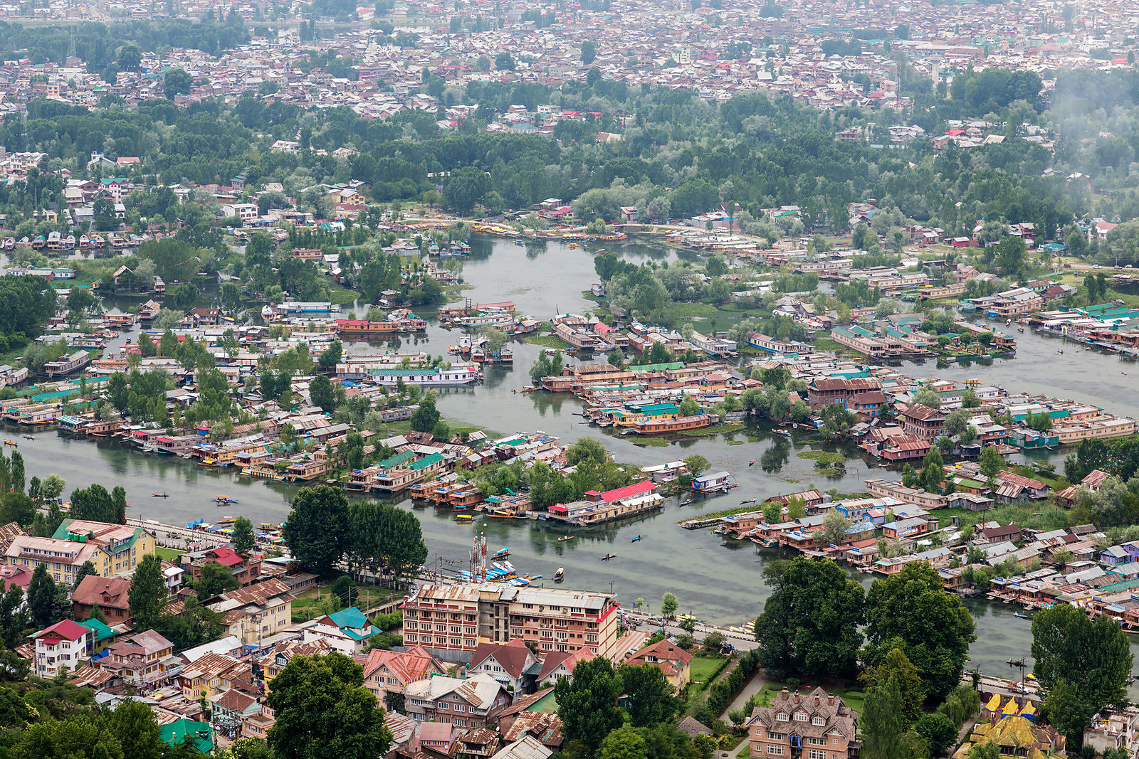 House Boats on Dal Lake from Takht-e -Suleiman