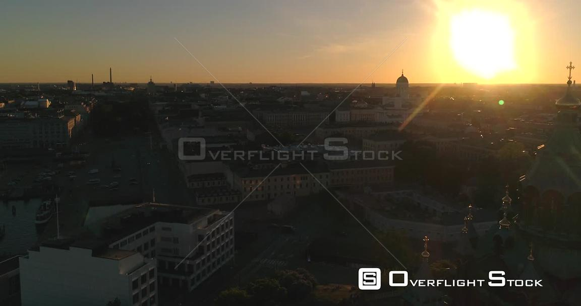 Helsinki Cityscape, Aerial Sideway View Around Uspetski Cathedral and Its Golden Cupole, Revealing the City, on a Sunny Summe...