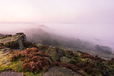 Mist covered Baslow Edge