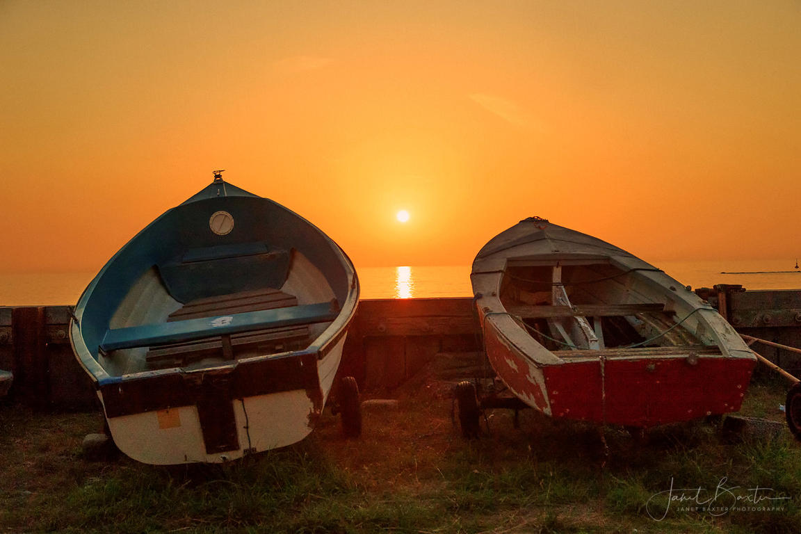 Boats at sunset, Borth