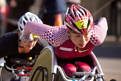Wakako Tsuchida (3rd) of Japan Competing in the Women's Wheelchair Event at The London Marathon 2014