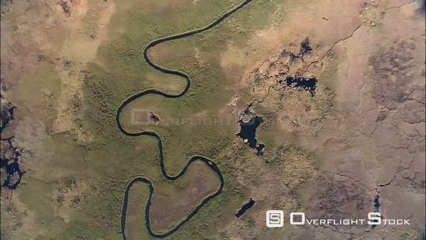 Aerial shot of a river and green belt in the Okavango Delta Okavango Delta Botswana Botswana