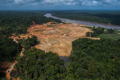Aerial view of Aurora Gold Mining project, Guyana, South America