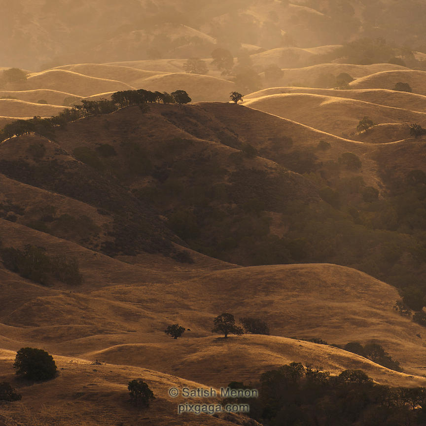 Early Morning Light on Hills, Calaveras Road, Milpitas, CA, USA