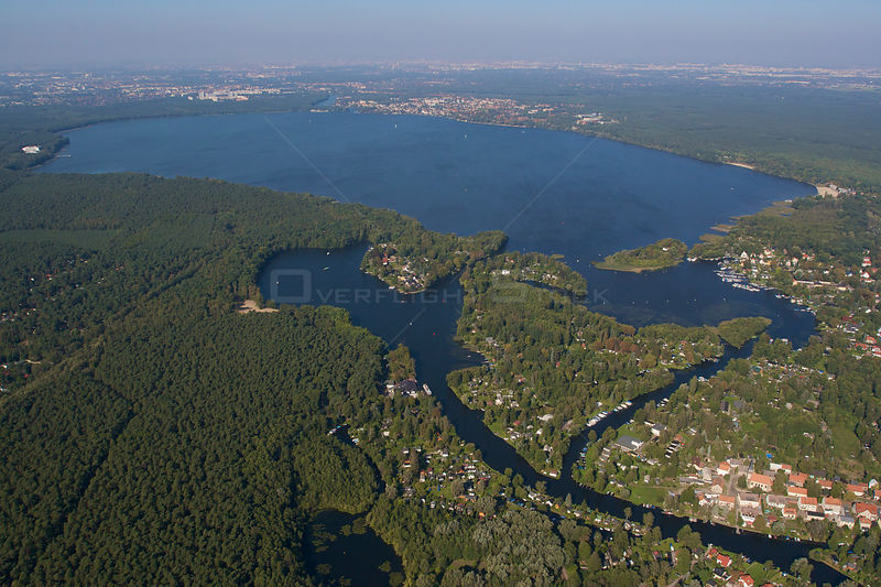 Aerial view of Lake Myggelsee, viewed from the Southeast with river Spree, Bauersee and nature reserve 'Die Bsnke', Berlin, G...