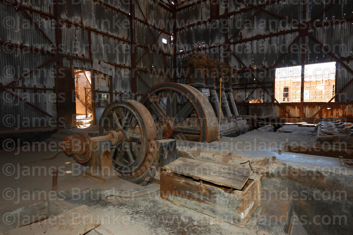 Machinery inside boiler room of abandoned nitrate mining town of Humberstone, Region I, Chile