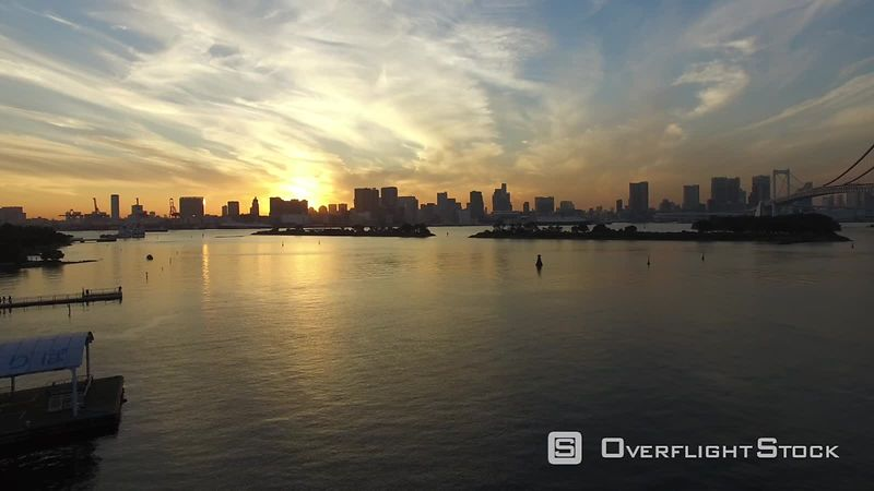 Drone Video of the Tokyo Bay at Odaiba, filmed by drone at sunset, Tokyo, Japan