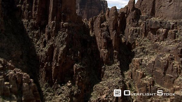 Flying through notch in rocks along Arizona's Little Colorado River Gorge